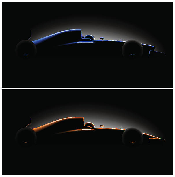 реалистичный стиль гонки автомобилей формула в темный, вид сбоку - formula 1 stock illustrations