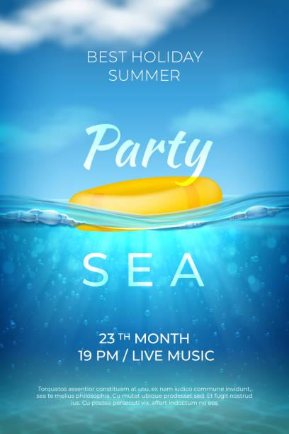 illustrations, cliparts, dessins animés et icônes de affiche d'été réaliste. conception sous-marine de partie de piscine de mer, bannière d'événement de plage d'océan avec le ciel et le fond de vagues. paysage marin de vecteur - piscine