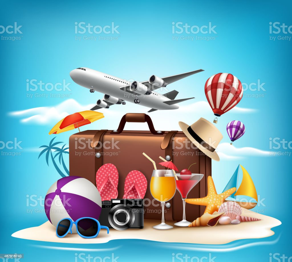 3D Realistic Summer Vacation Design for Travel in a Beach vector art illustration