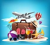 3D Realistic Summer Vacation Design for Travel in a Beach