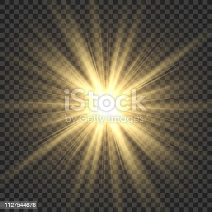 istock Realistic sun rays. Yellow sun ray glow abstract shine light effect starburst sbeam sunshine glowing isolated image 1127544676