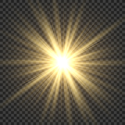 Realistic sun rays. Yellow sun ray glow abstract shine light effect starburst sbeam sunshine glowing isolated vector illustration