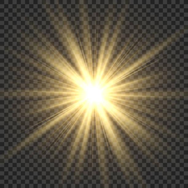 реалистичные солнечные лучи. желтый солнечный луч свечение абстрактный свет световой эффект звезды sbeam солнце светящиеся изолированные из - блестящий stock illustrations