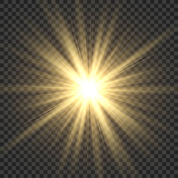 realistic sun rays. yellow sun ray glow abstract shine light effect starburst sbeam sunshine glowing isolated image - glowing stock illustrations