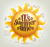 3D Realistic Sun Vector with Summer Time Title