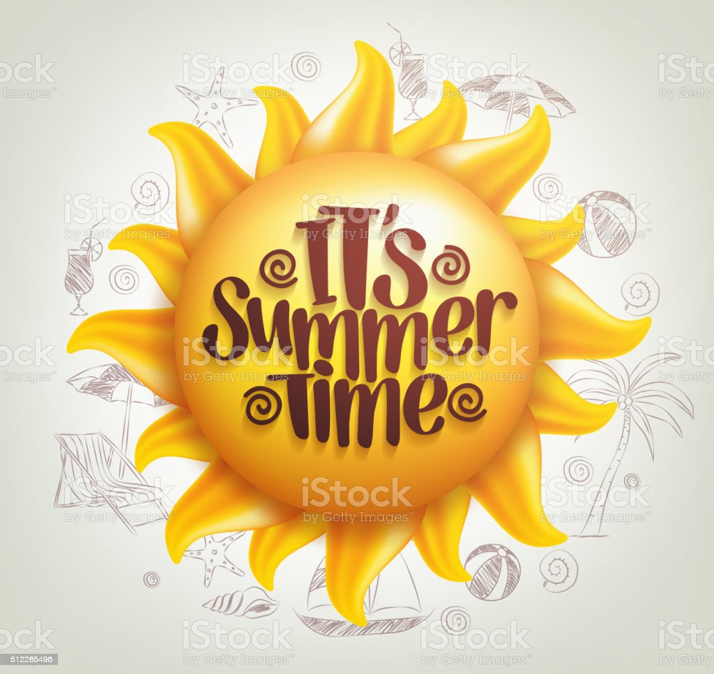 3D Realistic Sun Vector with Summer Time Title vector art illustration