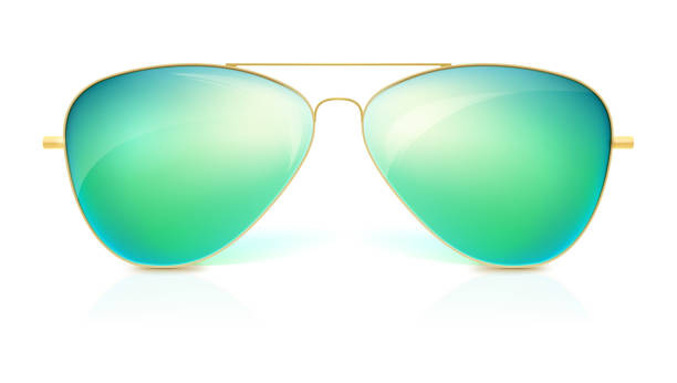 Realistic sunglasses, classic shape in fine gold frame isolated on white background. Icon of sunglasses with green glass, stylish accessories with reflex vector art illustration