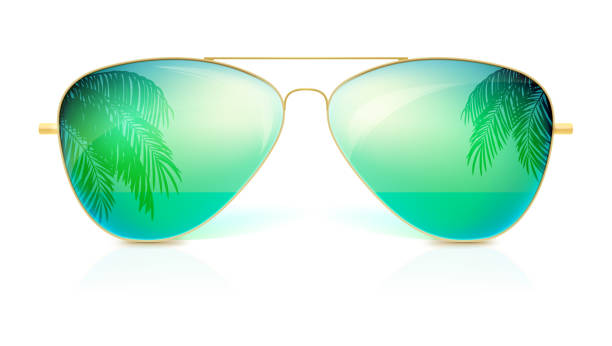 Realistic sunglasses, classic shape in fine gold frame isolated on white background. Icon of sunglasses with green glass, reflection of the palm trees, the sea and the horizon. Stylish accessories vector art illustration