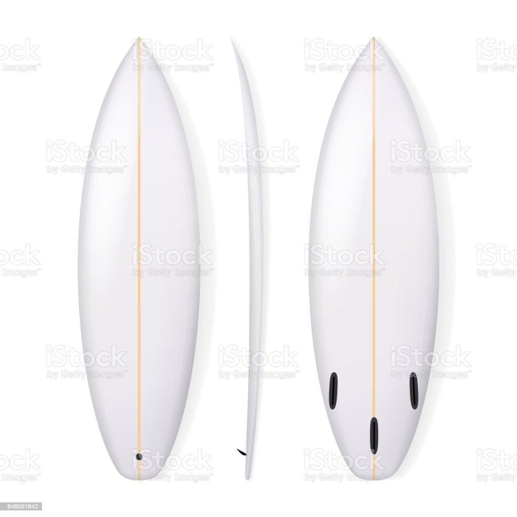Realistic Surfboard Vector. Blank Of Surfing Board Isolated On White Background vector art illustration