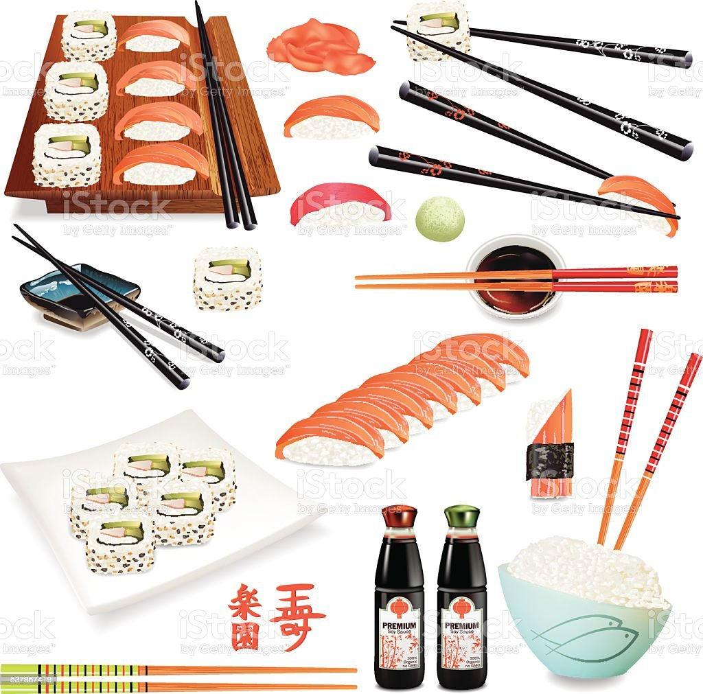 Realistic Sushi Foods With Sashimi, Chopsticks, Soy Sauce And Dinnerware vector art illustration