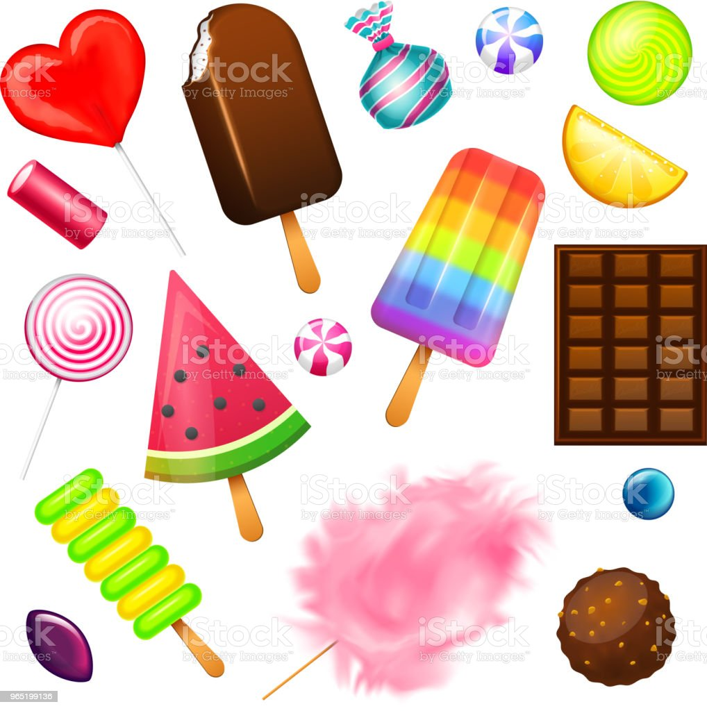Realistic Sweet candies set. Swirl caramel, assorted circle lollipops, dragee and chocolates, fruit jelly, Sugar clouds, cotton and watermelon. 3d vector illustration. holiday colors in modern style realistic sweet candies set swirl caramel assorted circle lollipops dragee and chocolates fruit jelly sugar clouds cotton and watermelon 3d vector illustration holiday colors in modern style - stockowe grafiki wektorowe i więcej obrazów bez ludzi royalty-free
