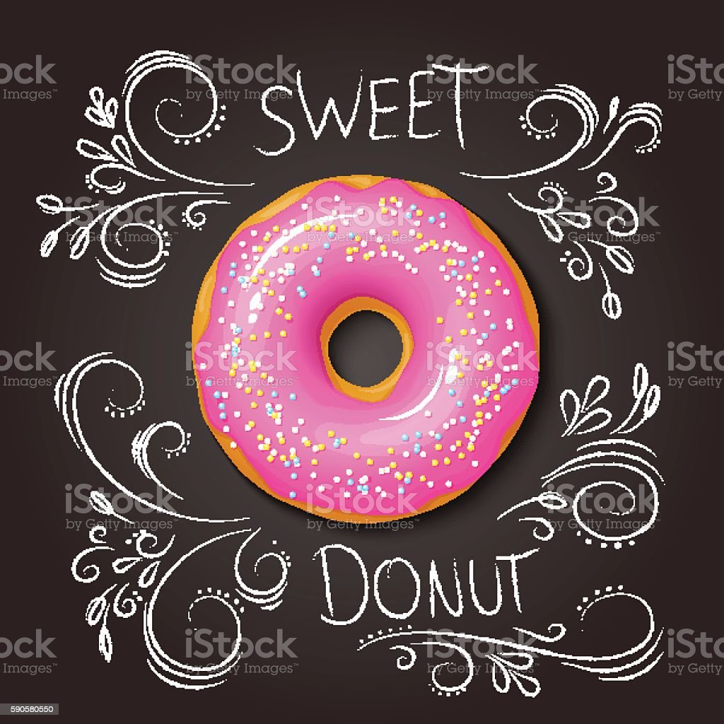 realistic sweet donut on top view vector art illustration