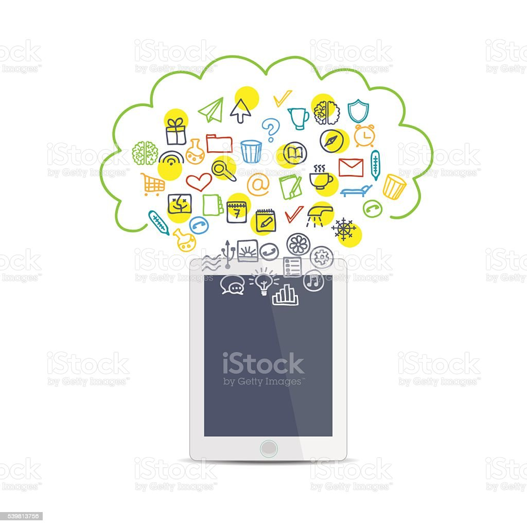 Realistic tablet business icons vector art illustration