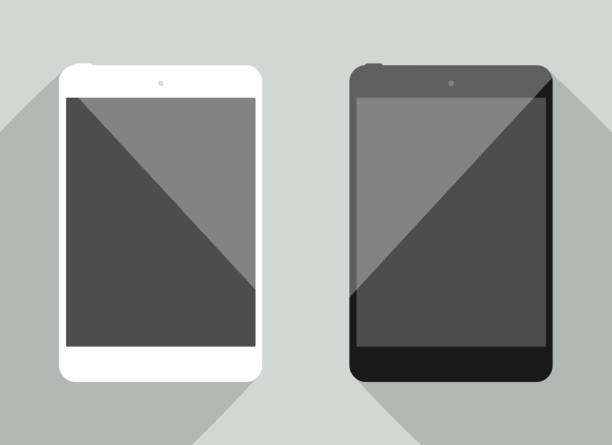 realistic tablet collection in new ipad style. white and black device with shadow isolated on gray background. smart template for your design, web site, development app. - ipad stock illustrations