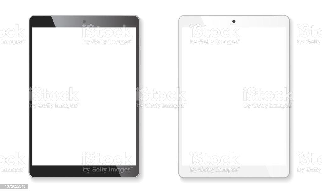 Conjunto de maquete realista tablet - Vetor de Branco royalty-free