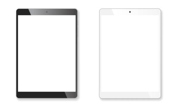 realistic tablet mockup set - tablet stock illustrations