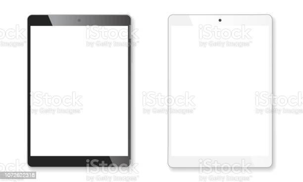 Vetores de Conjunto De Maquete Realista Tablet e mais imagens de Branco