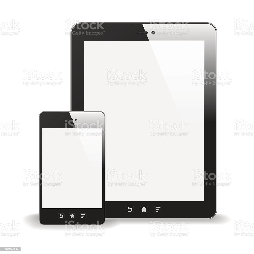 Realistic Tablet PC And Smart Phone With Blank Screen vector art illustration