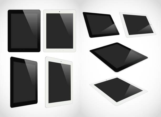 Realistische tablet-pc-computer, isoliert auf weißem Hintergrund – Vektorgrafik