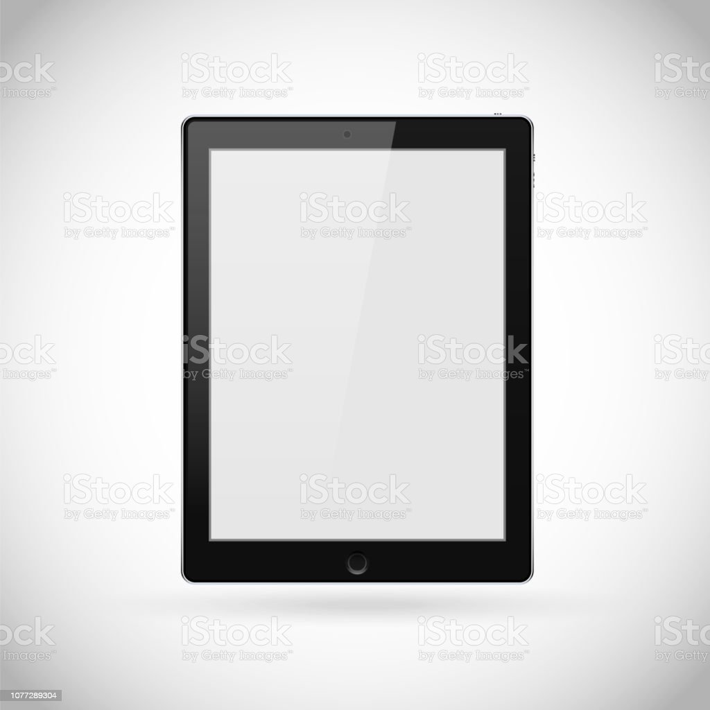 Realistic tablet pc computer with blank screen isolated on white background vector art illustration