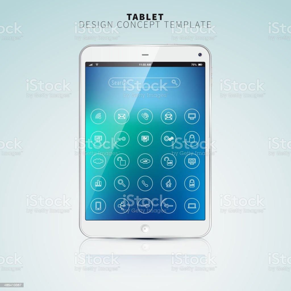 Realistic Tablet PC With color Screen and UI flat icons royalty-free stock vector art