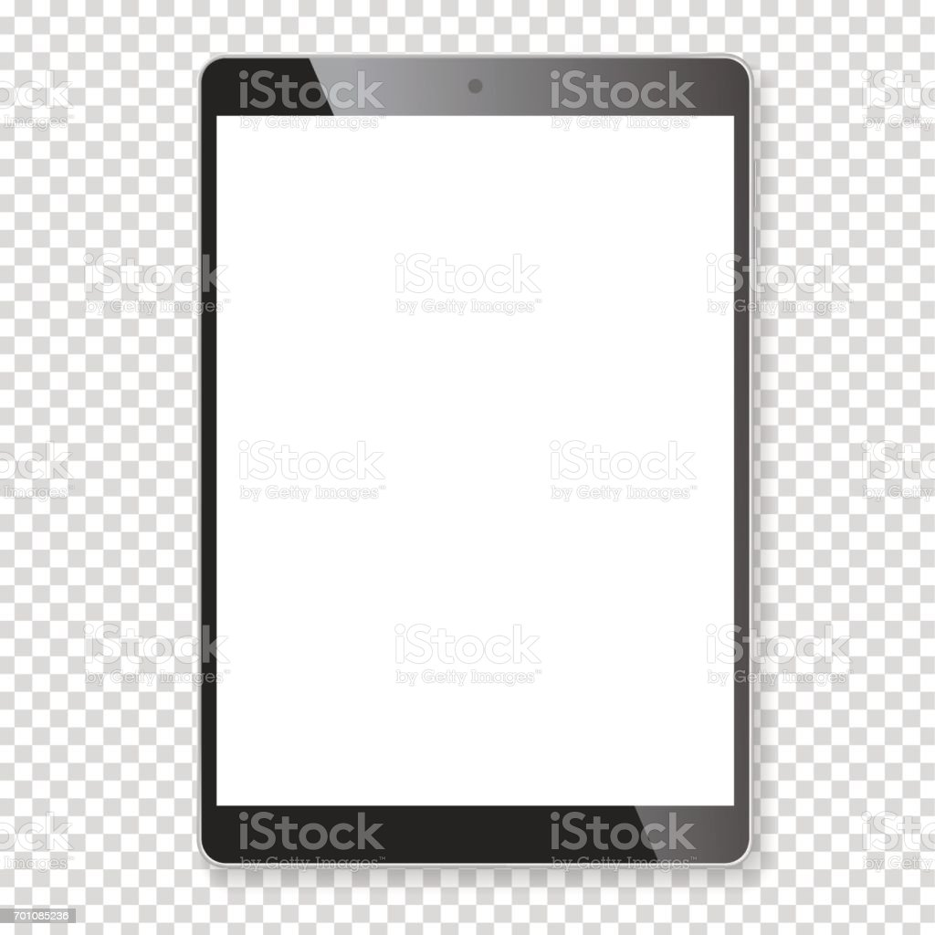 Realistic tablet portable computer mockup vector art illustration
