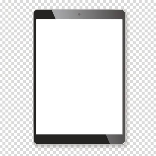 realistische tablet tragbaren computer modell - tablet pc stock-grafiken, -clipart, -cartoons und -symbole