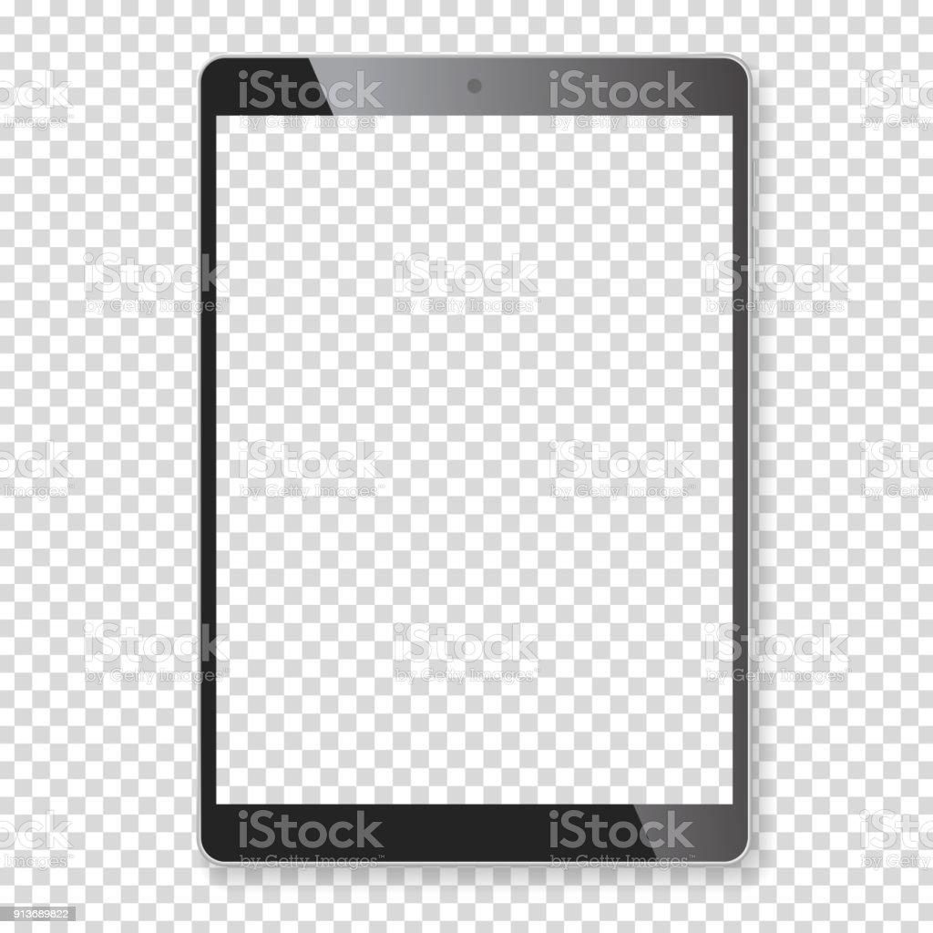 Maquete de computador portátil tablet realista - Vetor de Aplicação móvel royalty-free