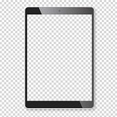 Realistic tablet portable pad computer. Contemporary black gadget. Graphic design element for catalog, web site, blank mockup, demonstration template. Isolated on white background. Vector illustration