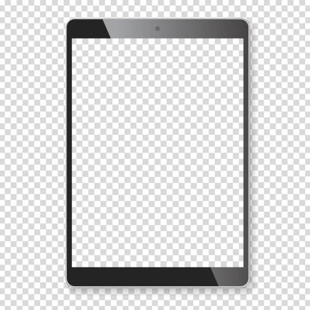 Realistic tablet portable computer mockup Realistic tablet portable pad computer. Contemporary black gadget. Graphic design element for catalog, web site, blank mockup, demonstration template. Isolated on white background. Vector illustration ipad stock illustrations