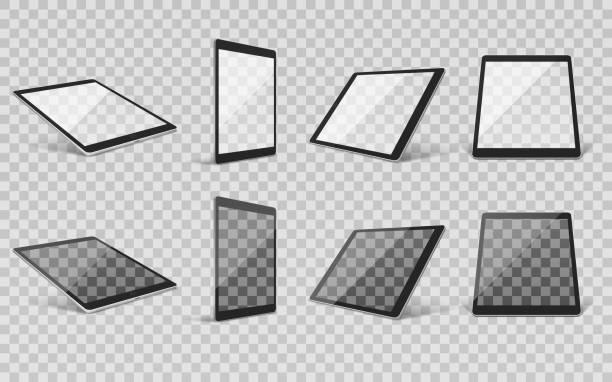 realistische Tablet-Set transparent – Vektorgrafik
