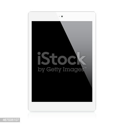 Realistic white mini tablet isolated on white background