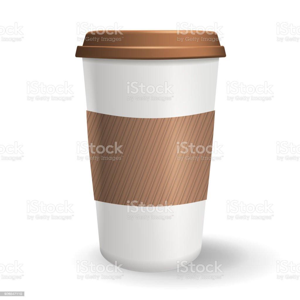 Realistisch Takeaway Und Kaffee Von Pappbecher Mit Deckel Und ...