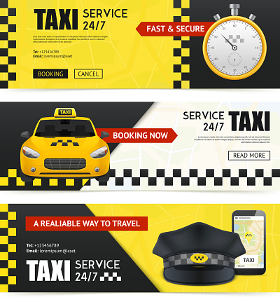 realistic taxi banners