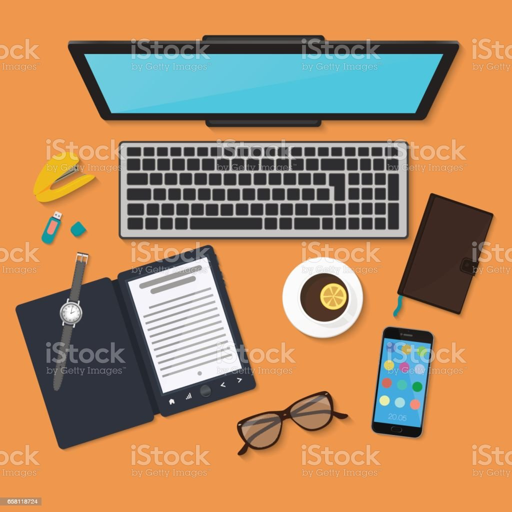 Realistic technology workplace organization. Top view of color work desk with laptop, reader, smartphone, tablet pc, diary, glasses, and coffee mug