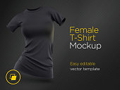 Realistic Template Blank Black Woman T-shirt Cotton Clothing. Empty Mock Up