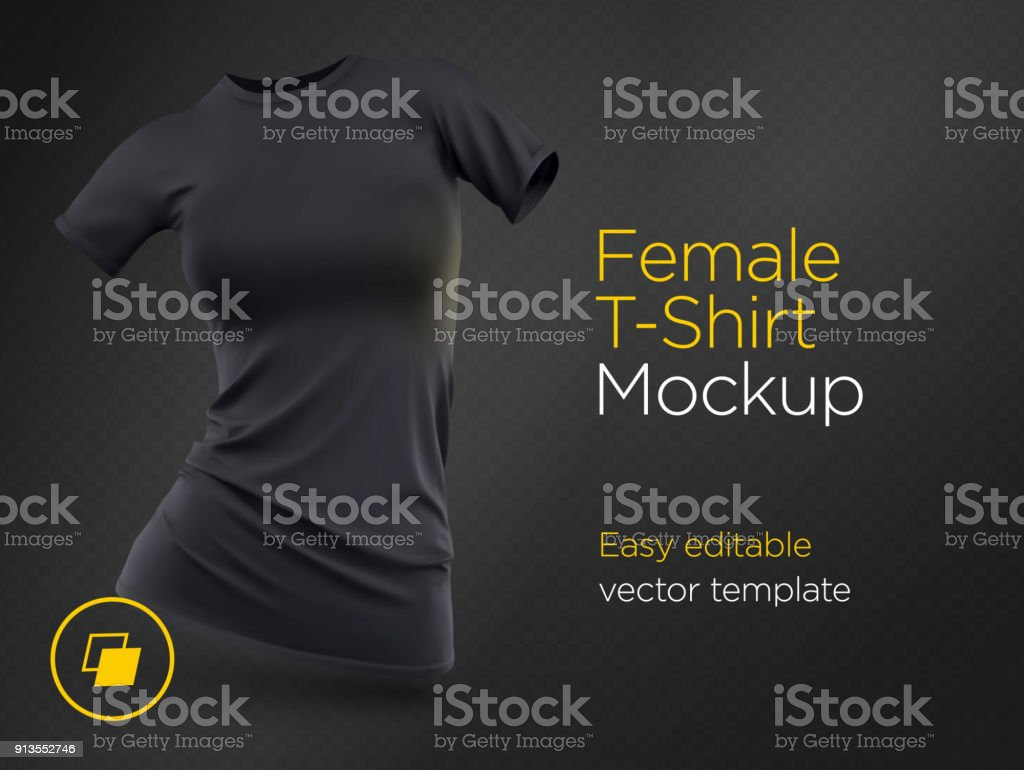 Realistic Template Blank Black Woman T-shirt Cotton Clothing. Empty Mock Up vector art illustration