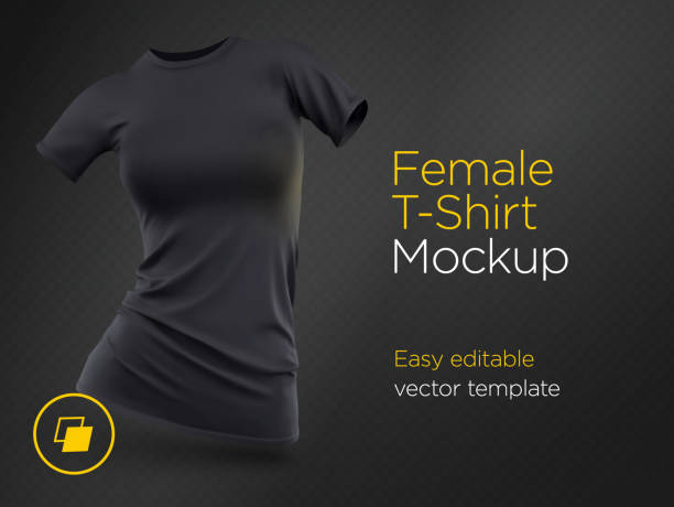 ilustrações de stock, clip art, desenhos animados e ícones de realistic template blank black woman t-shirt cotton clothing. empty mock up - teeshirt template