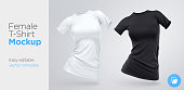 Realistic Template Blank White and Black Woman T-shirt Cotton Clothing. Empty Mock Up. Vector illustration