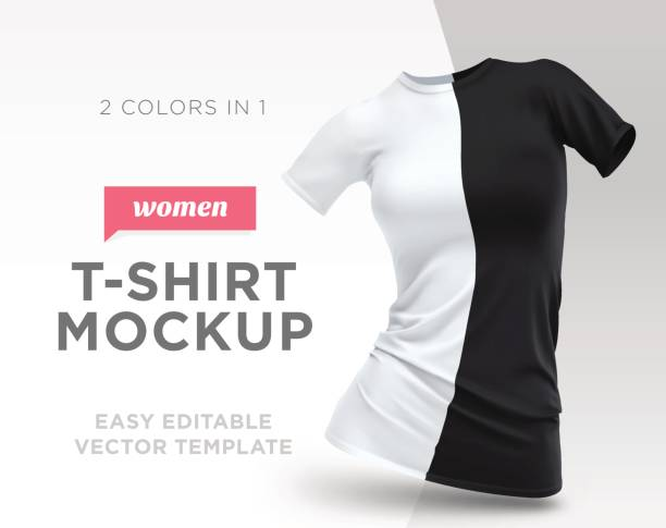 Realistic Template Blank White and Black Woman T-shirt Cotton Clothing.  Empty Mock Up 92fa6c92d