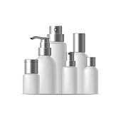 Realistic Template Blank White Bank or Bottle Cosmetic Cream Row. Vector