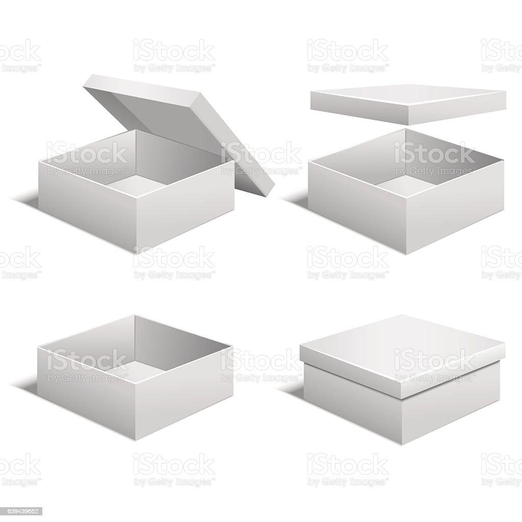 Realistic Template Blank White Boxes Set Vector Lizenzfreies