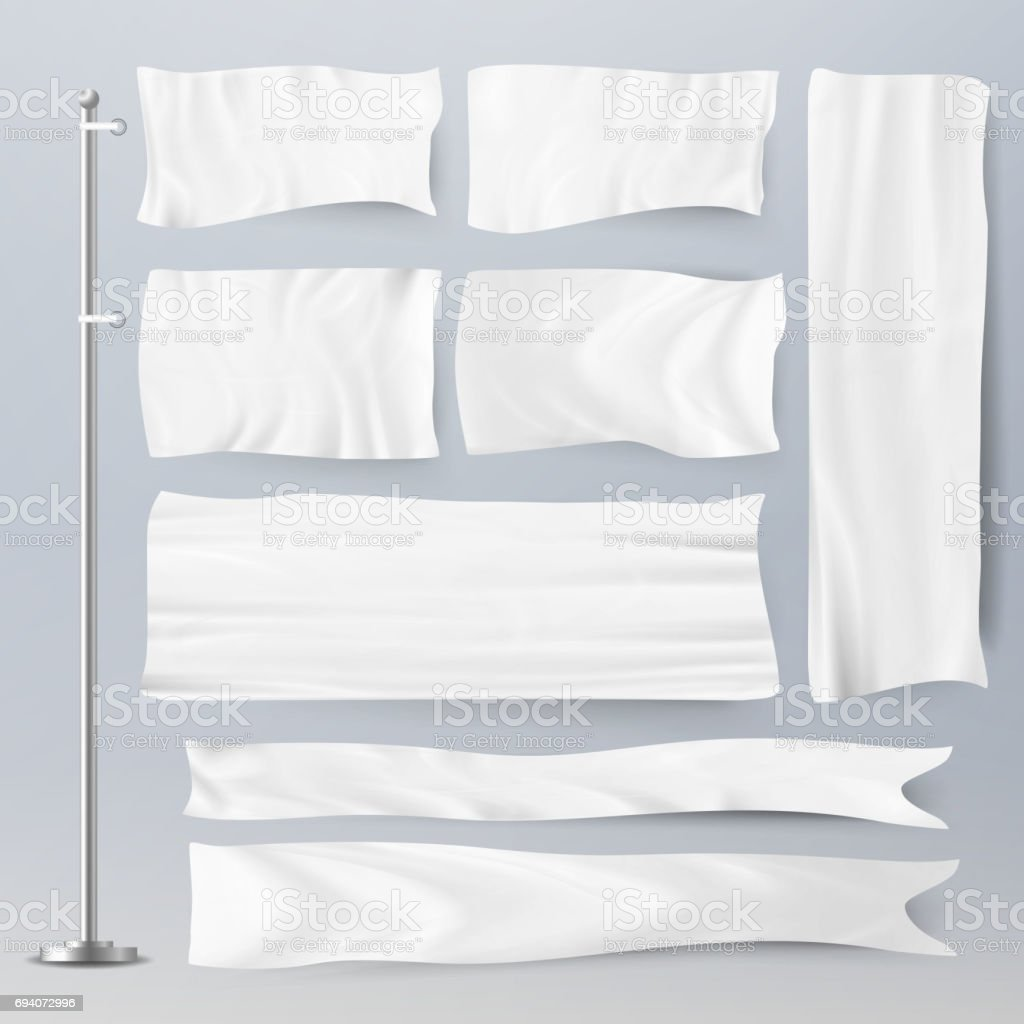 Realistic Template Blank White Flags Vector. Advertising Flag Banner And Fabric Canvas Poster For Advertising Illustration