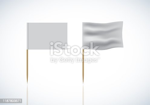 istock Realistic Template Blank White Flags Vector on toothpick 1187803571