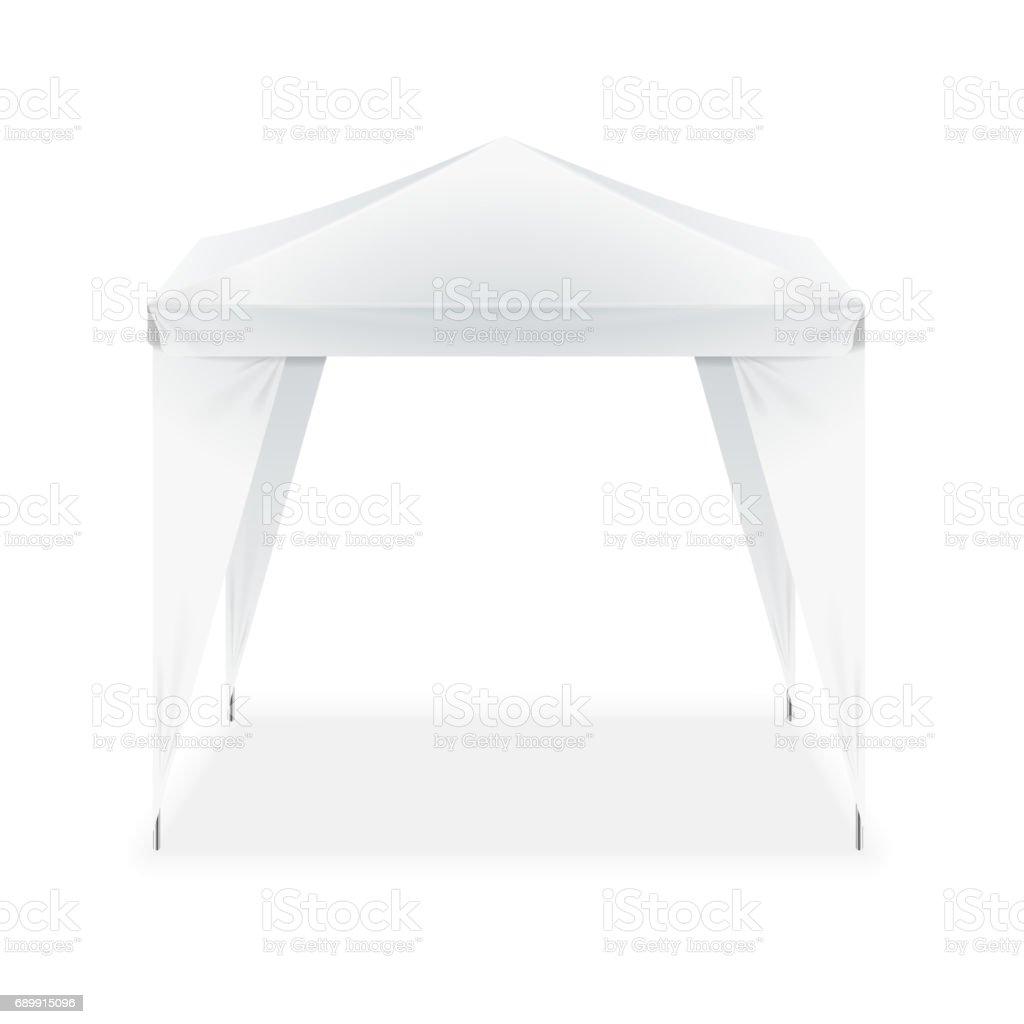 Realistic Template Blank White Folding Tent. Vector vector art illustration