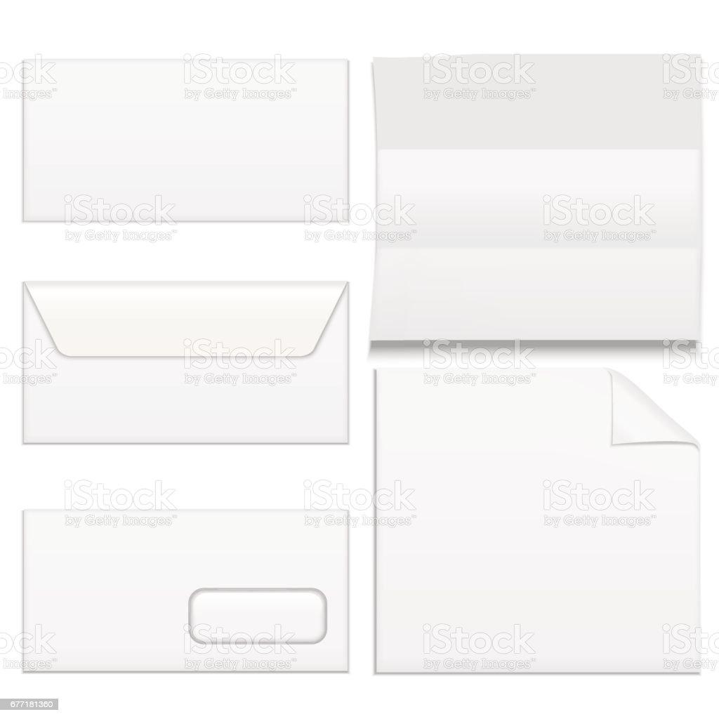 Realistic Template Blank White Paper Envelops Set. Vector vector art illustration