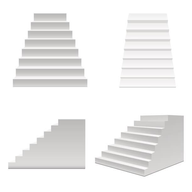 realistische vorlage leere weiße treppe oder treppen-set. vektor - treppe stock-grafiken, -clipart, -cartoons und -symbole
