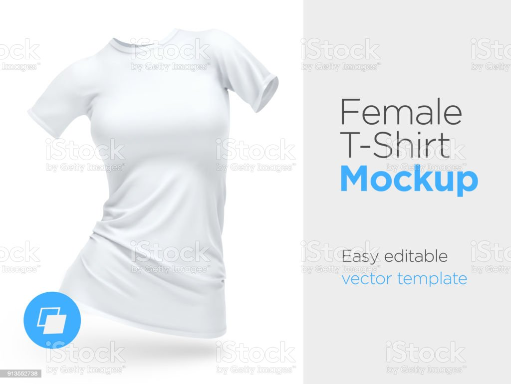Realistic Template Blank White Woman Tshirt Cotton Clothing Empty ...
