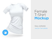 Realistic Template Blank White Woman T-shirt Cotton Clothing. Empty Mock Up