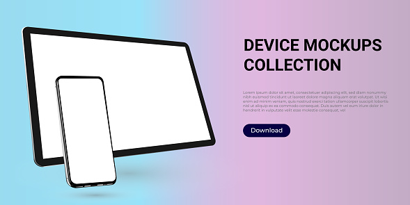 Realistic template mock up of a digital tablet and a smartphone for web design, webpages, banners, landings, presentations.
